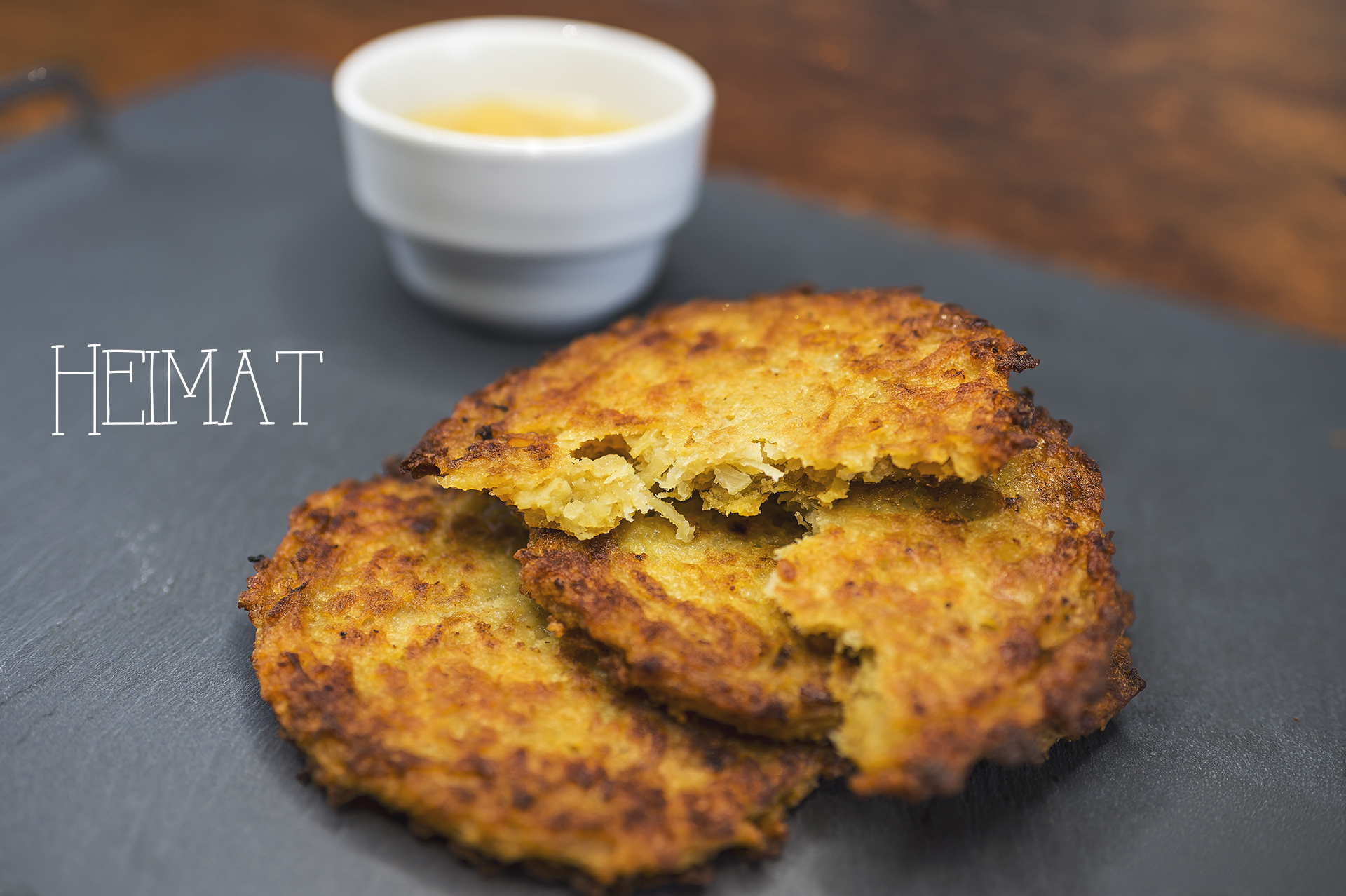 Potato fritter with apple mash